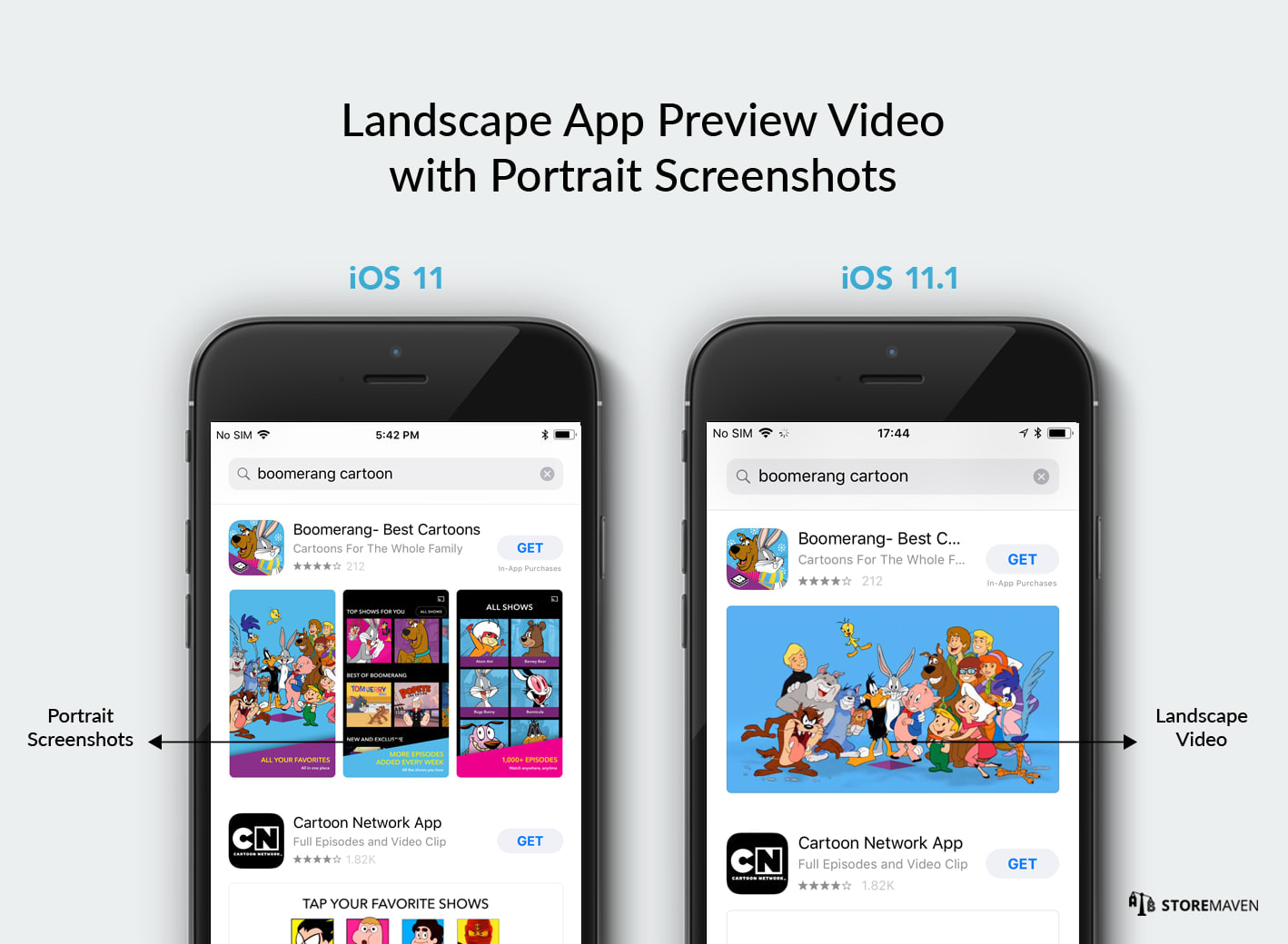Landscape App Preview Video with Portrait Screenshots