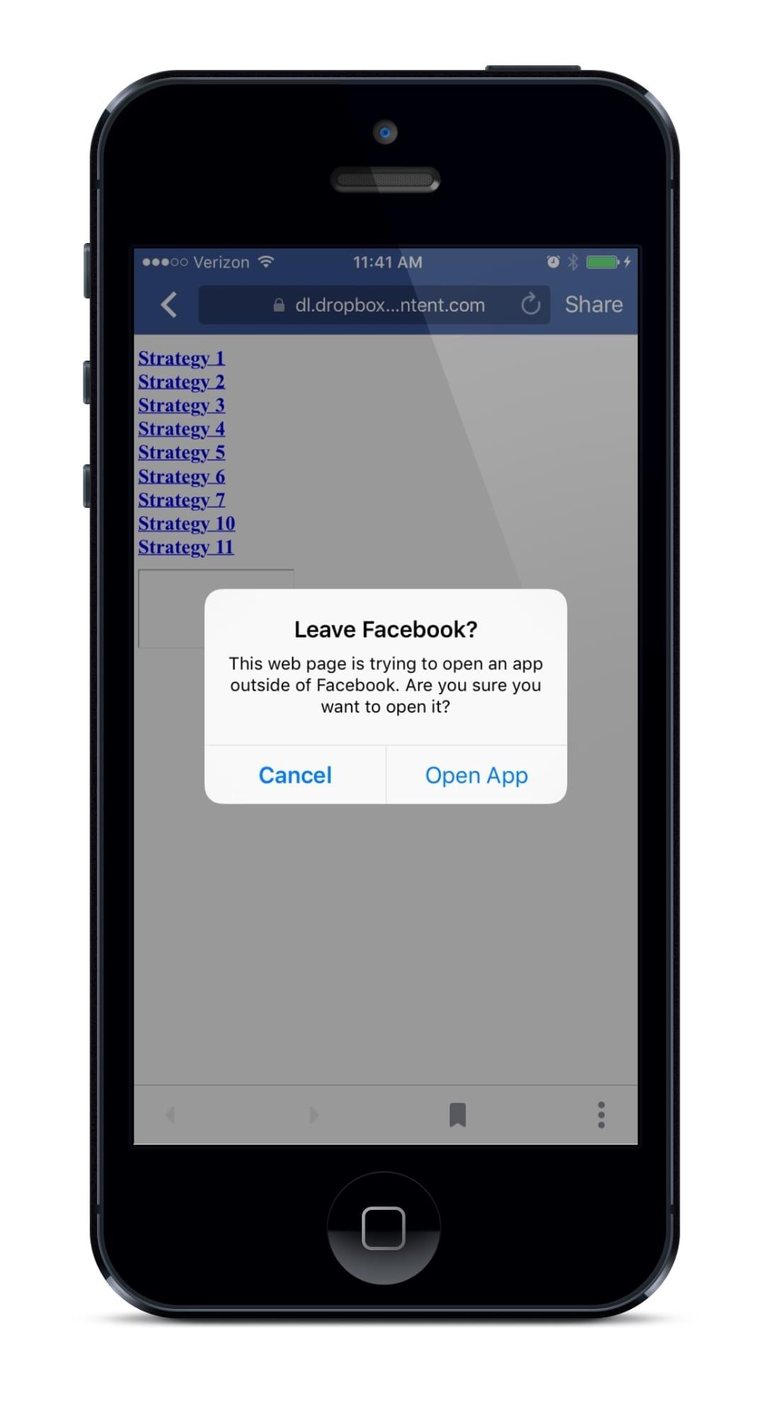 Leave Facebook notice