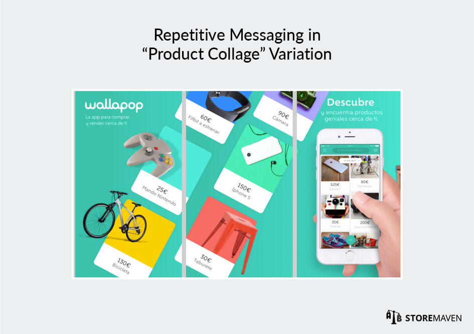 "Repetitive Messaging in ""Product Collage"" Variation"