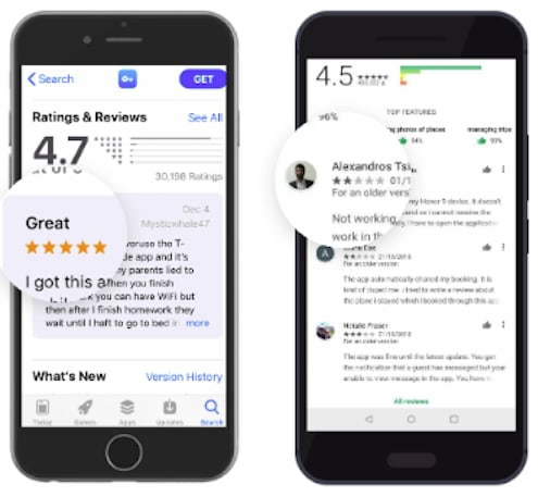 Users ratings and reviews on the app stores