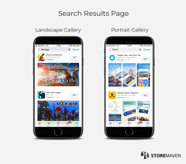 App Store Search Results Page