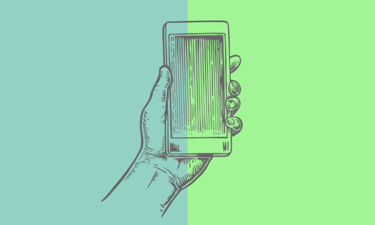 drawn picture of phone on coloured background