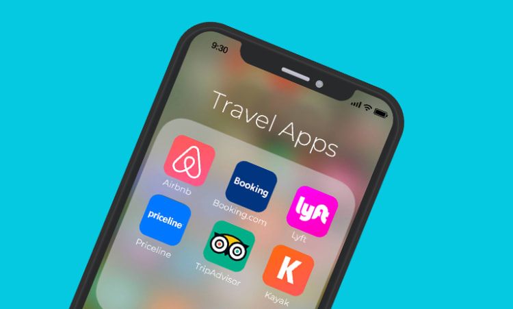 Image of phone with travel icons