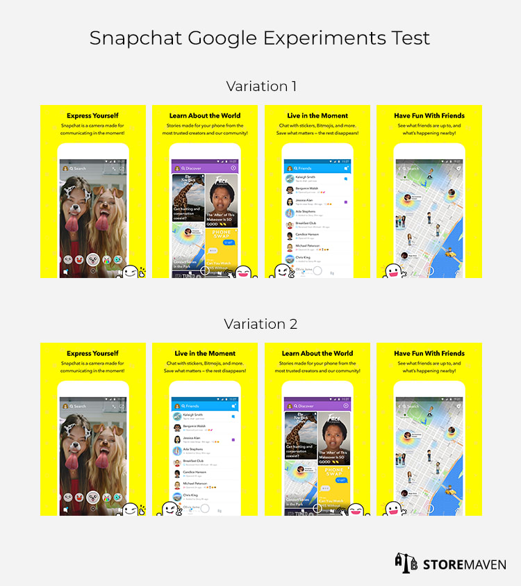 Snapchat Google Play Store Experiments Test