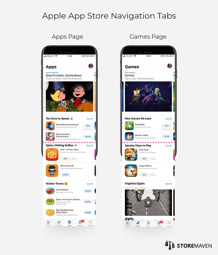 Apple App Store Navigation Tabs