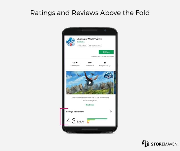 New Google Play Store Listing Design: Ratings and Reviews Above the Fold