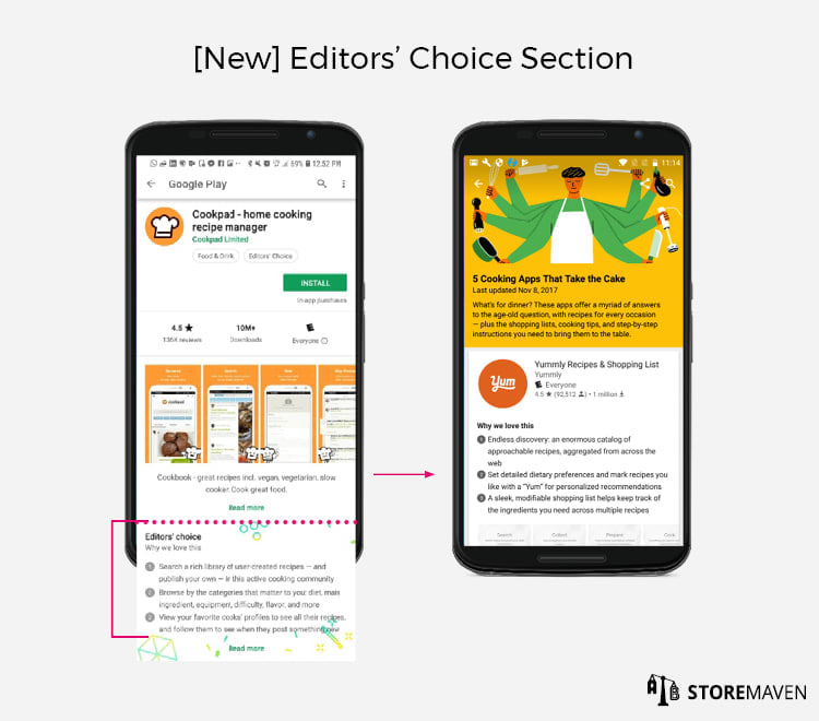 New Google Play Store Listing Design: Editors' Choice