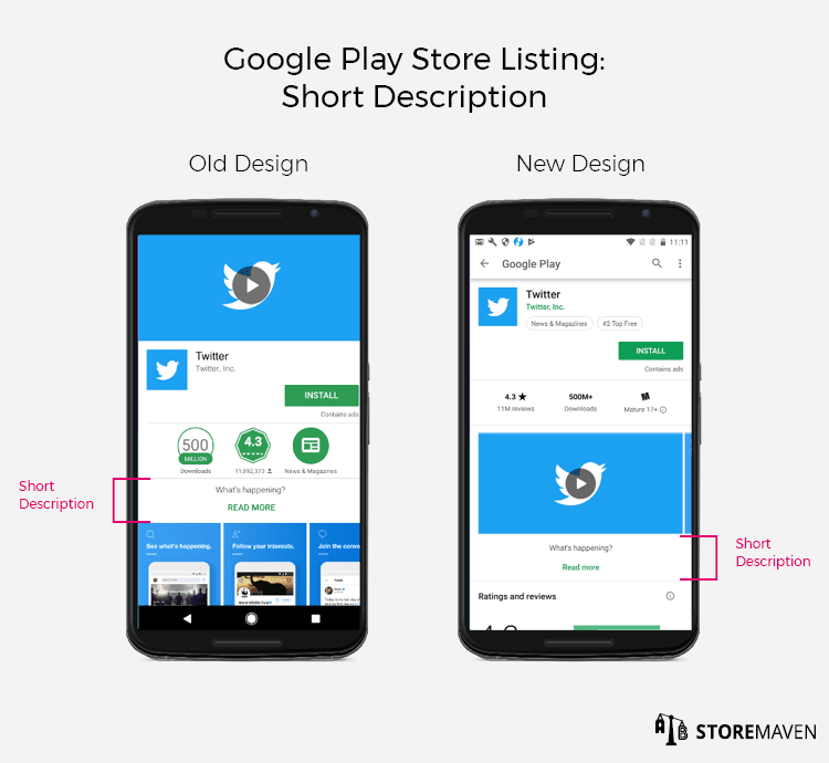 New Google Play Store Listing Design: Short Description