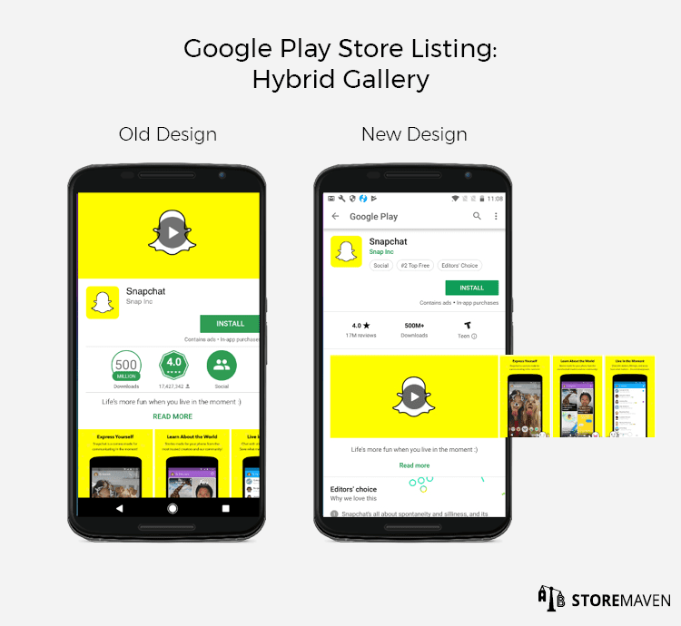New Google Play Store Listing Design: Hybrid Gallery