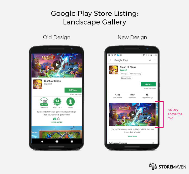 New Google Play Store Listing Design: Landscape Gallery