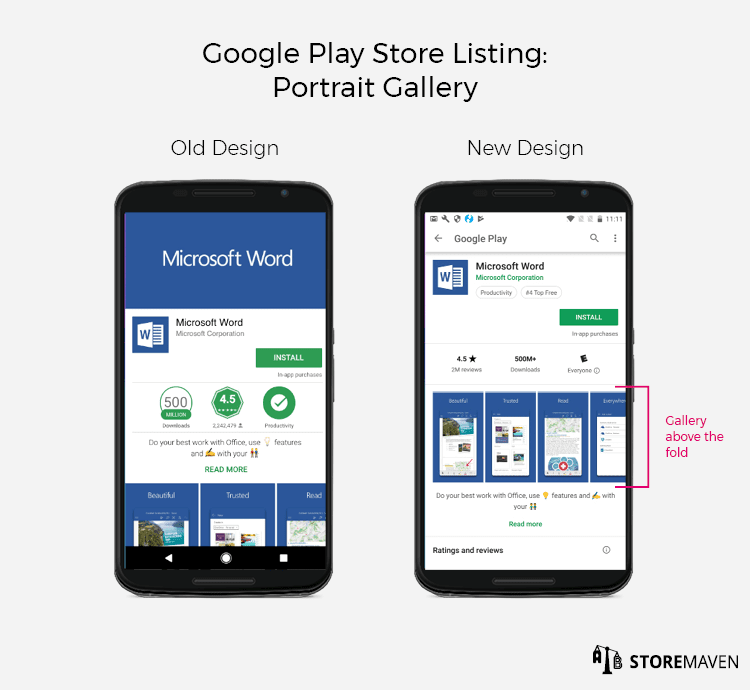 New Google Play Store Listing Design: Portrait Gallery