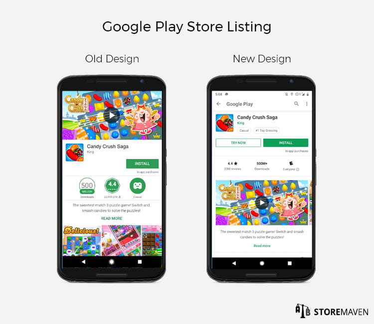New Google Play Store Listing Design