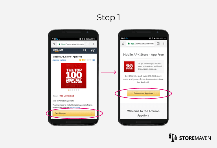 Amazon App Store APK Download Funnel Step 1