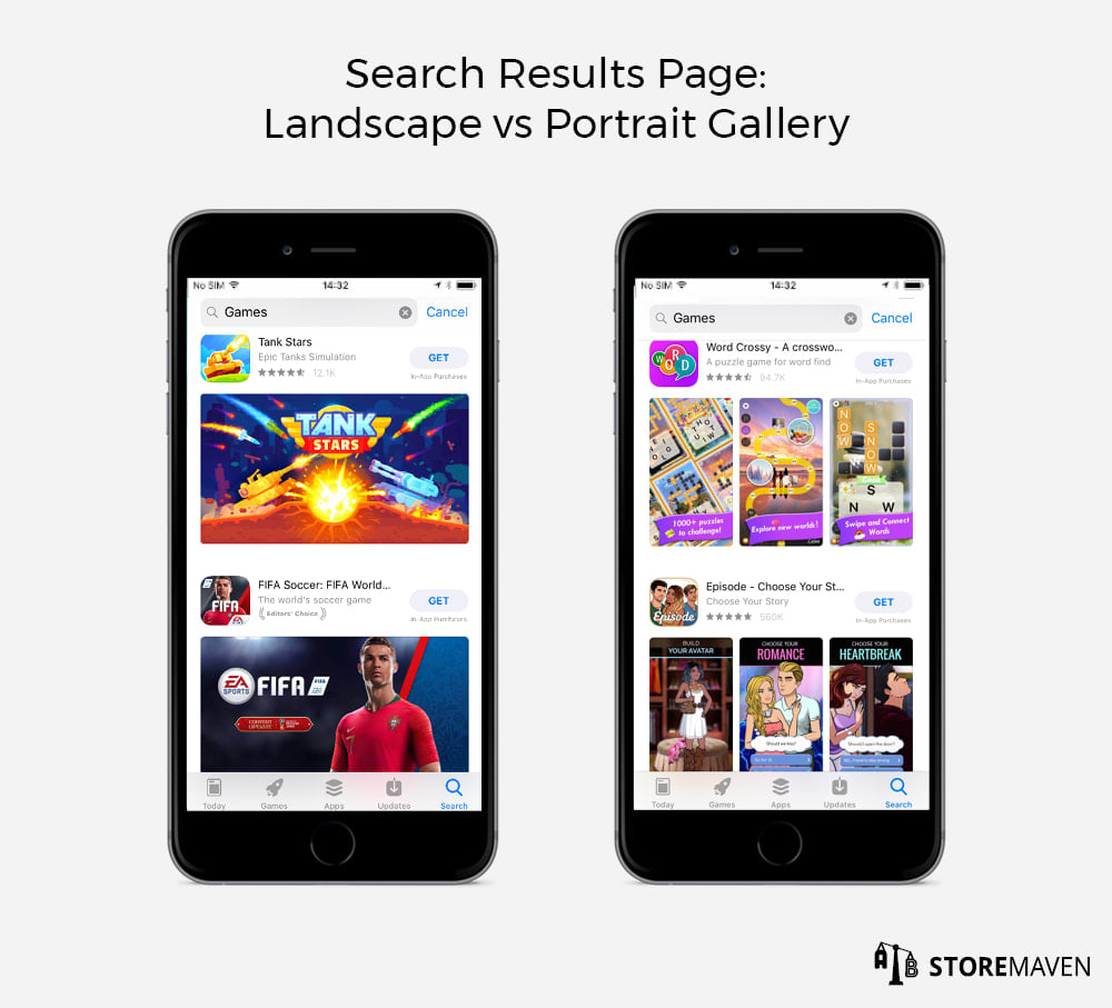 App Store Search Results Page: Landscape vs Portrait Gallery