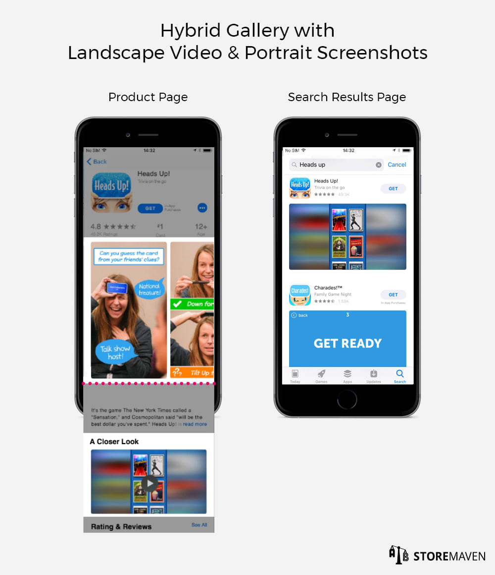 App Store Hybrid Gallery: Landscape Video and Portrait Screenshots