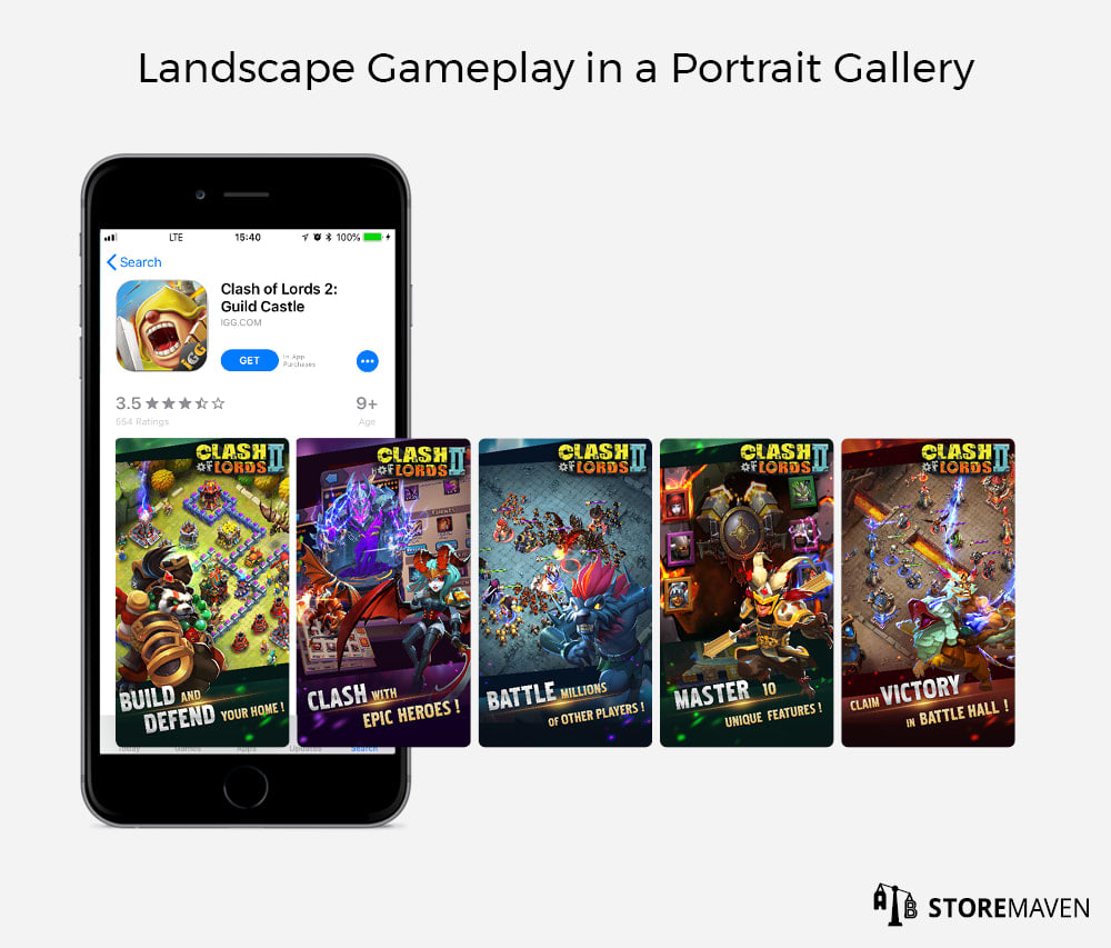 Apple App Store: Landscape Gameplay in a Portrait Gallery
