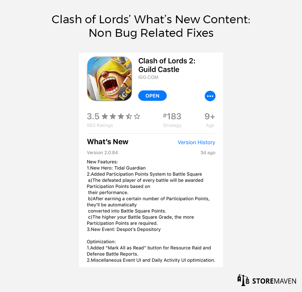 Clash of Lords' What's New Content: Non Bug Related Fixes