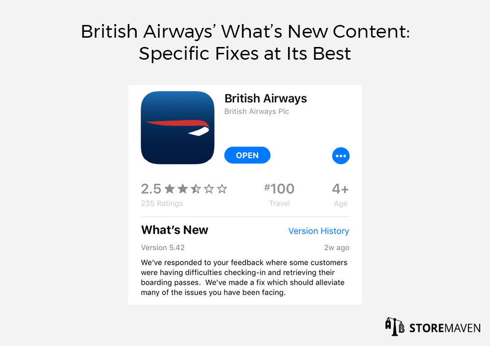 British Airways' What's New Content: Specific Fixes at Its Best