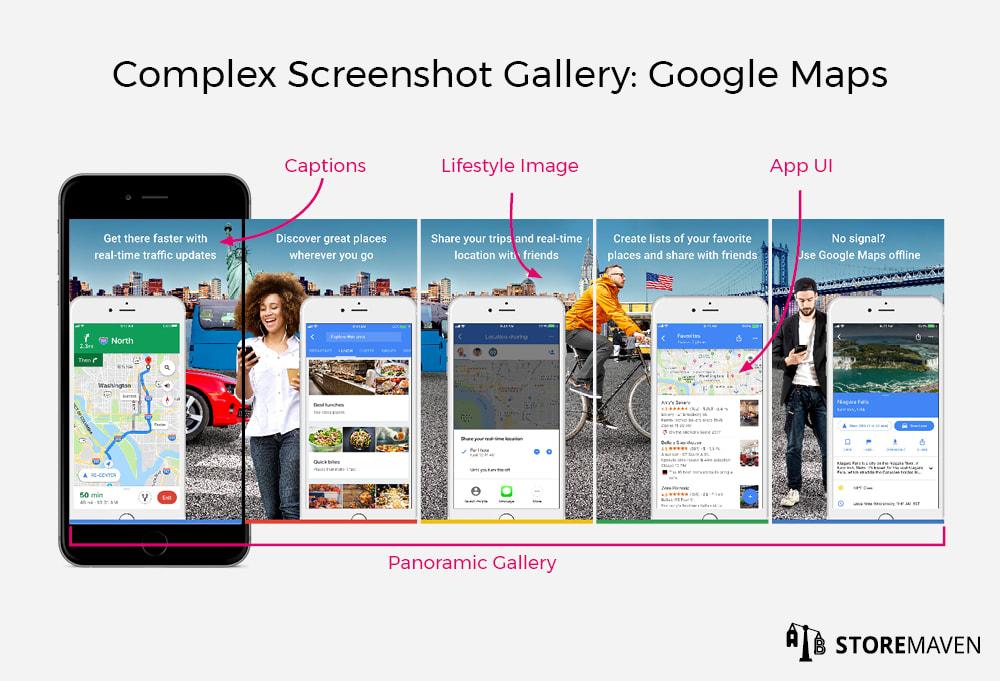 Complex Screenshot Gallery: Google Maps