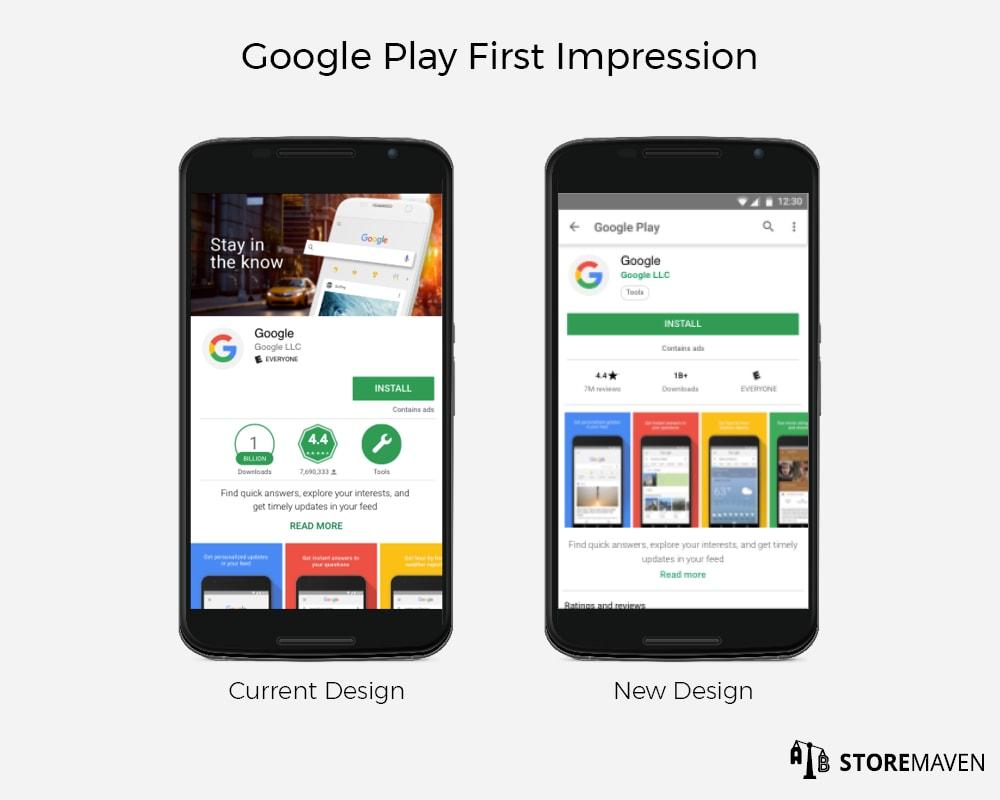 Google Play Store Listing First Impression Frame: Current Design vs. New Design