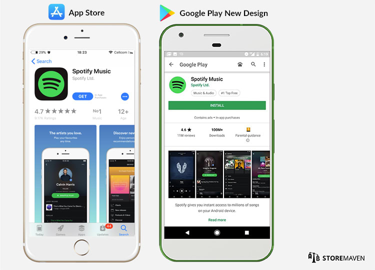 Google Play Store Redesign vs. Apple App Store Redesign