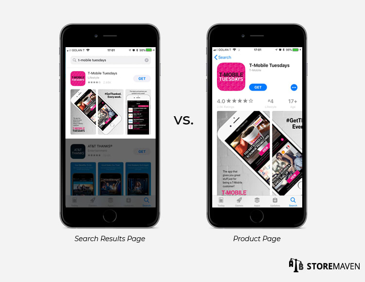 Panoramic Screenshot Gallery: Search Results Page vs. Product Page