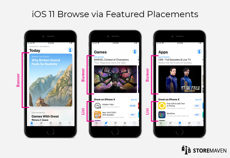 iOS 11 Browse via Featured Placements
