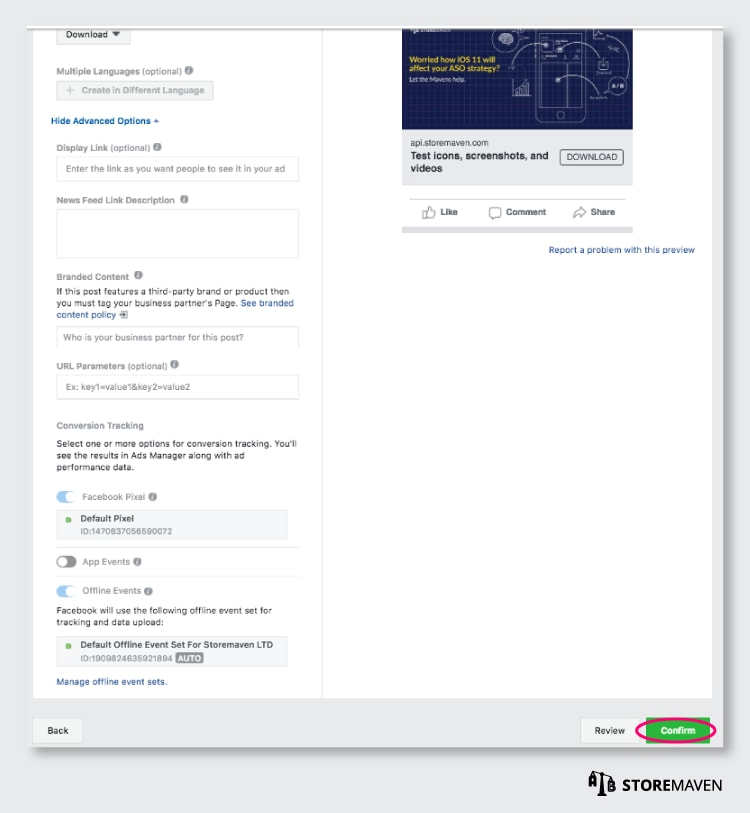 Facebook Campaign for ASO Test: Confirm Ad Details