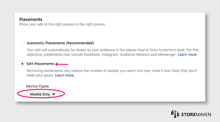 Facebook Campaign for ASO Test: Edit Placements