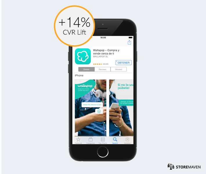 Wallapop ASO Case Study by StoreMaven: Test 2 CVR Lift
