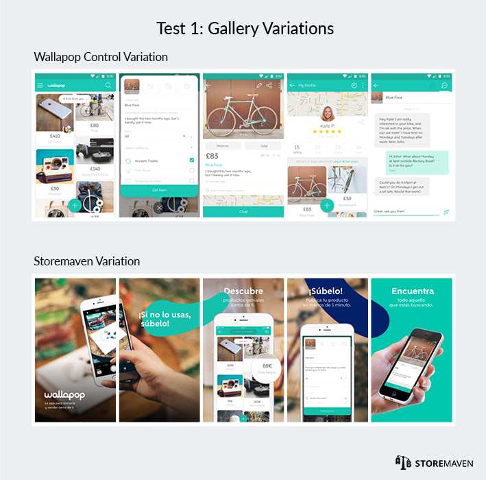 Wallapop ASO Case Study by StoreMaven: Test 1 Gallery Variations