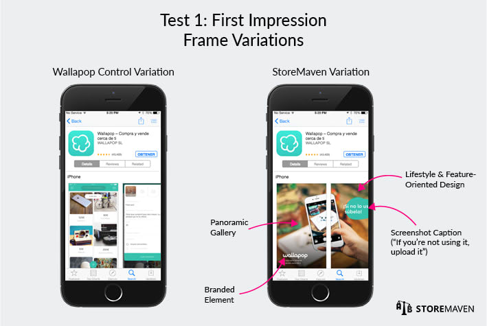 Wallapop ASO Case Study by StoreMaven: Test 1 First Impression Frame Variations