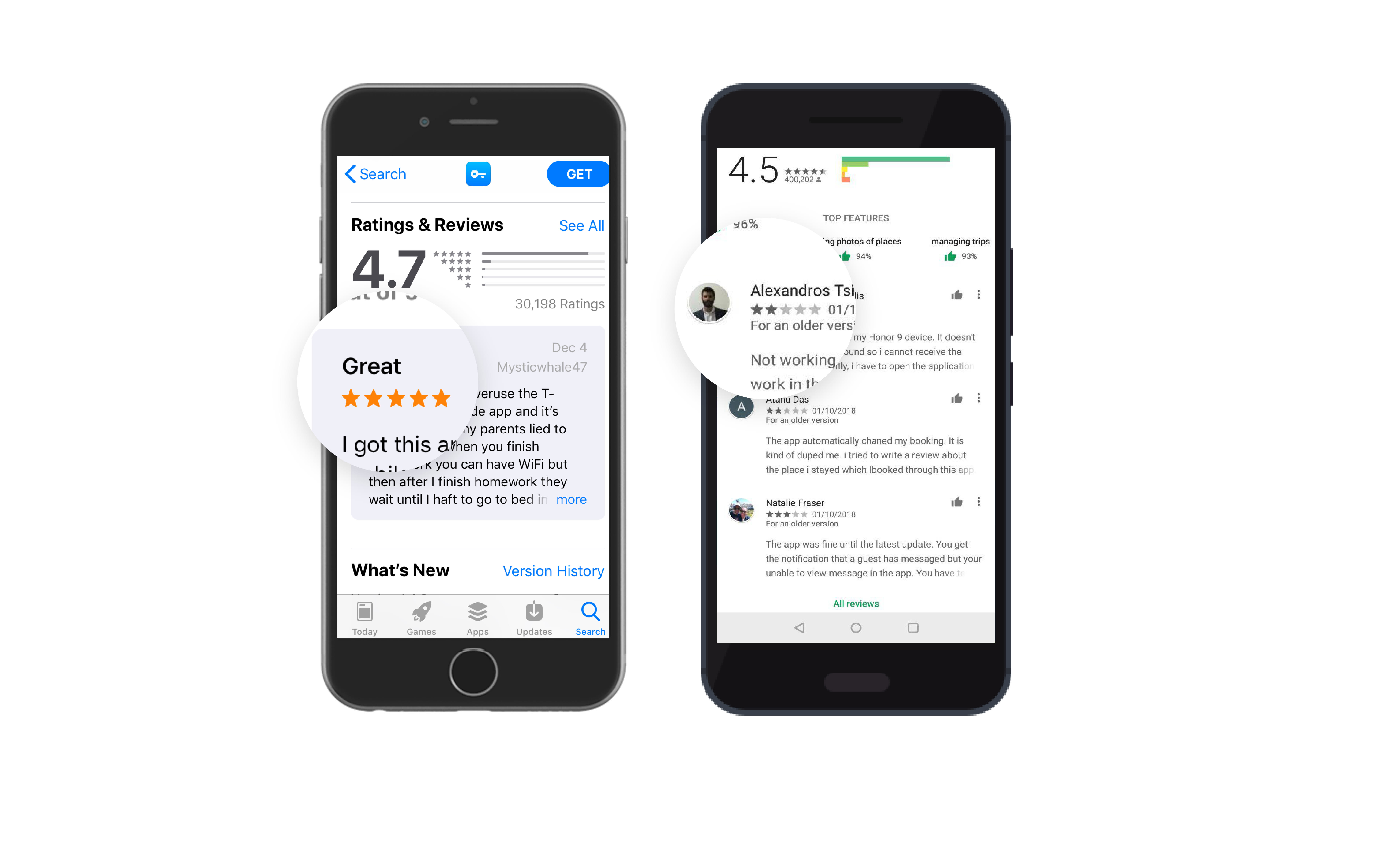 Featured reviews on the App Store and on Google Play.