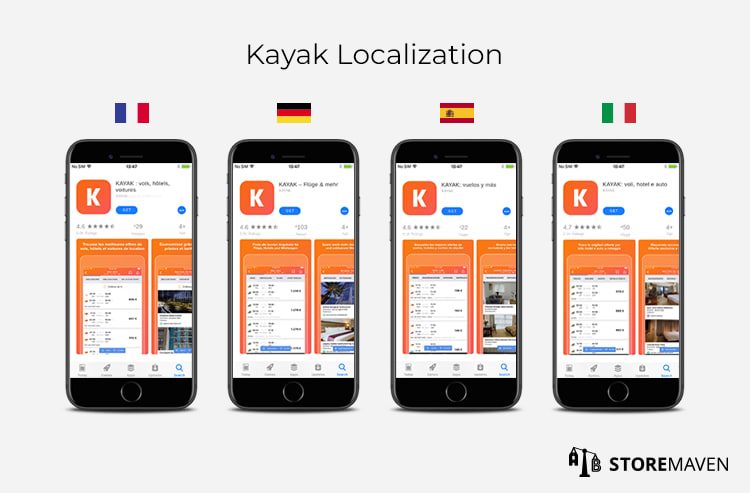 kayak localization and culturalization screenshot examples for apps