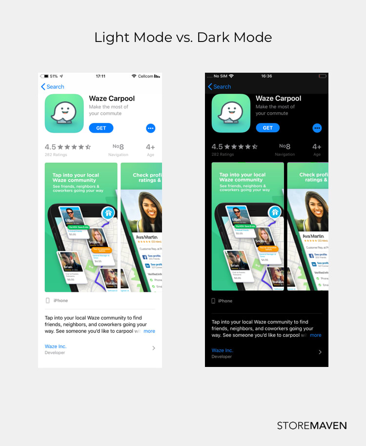 Screenshot of App in App Store in Light Mode and picture of App Store in Dark Mode