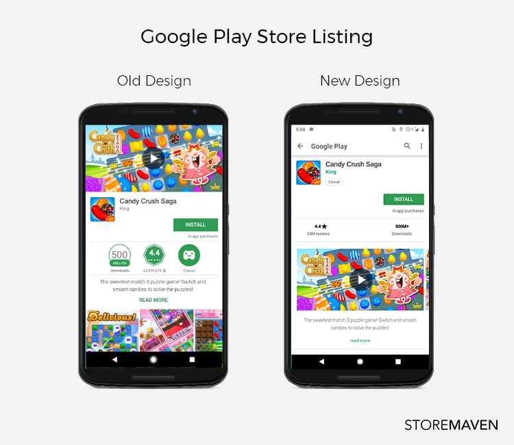 image of Candy Crush Saga google play store before and after 2018 redesign