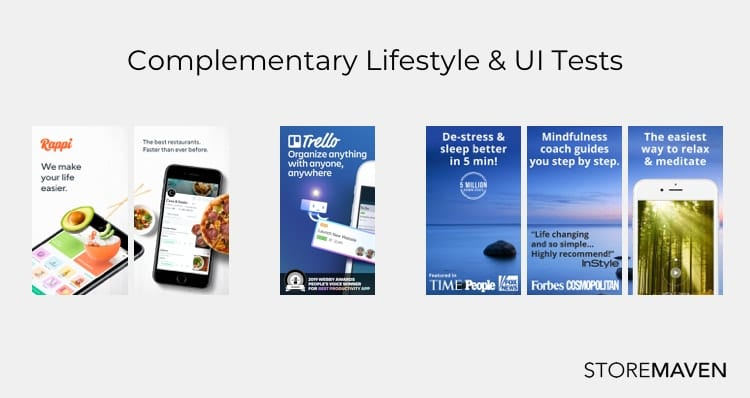 screenshot examples of apps using lifestyle imagery