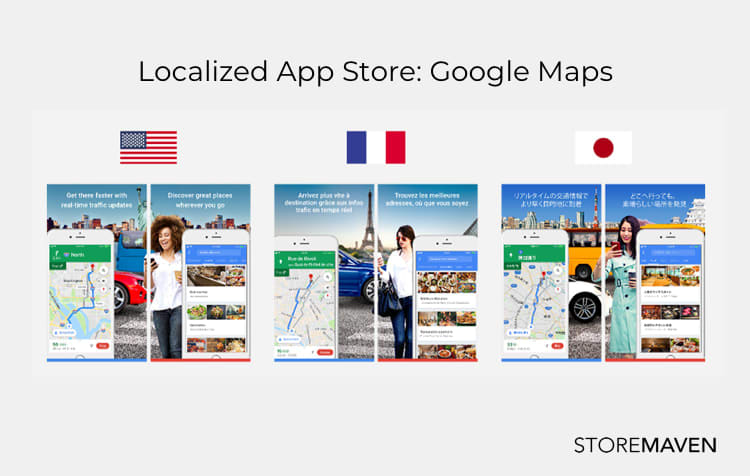 screenshot examples of localized app stores