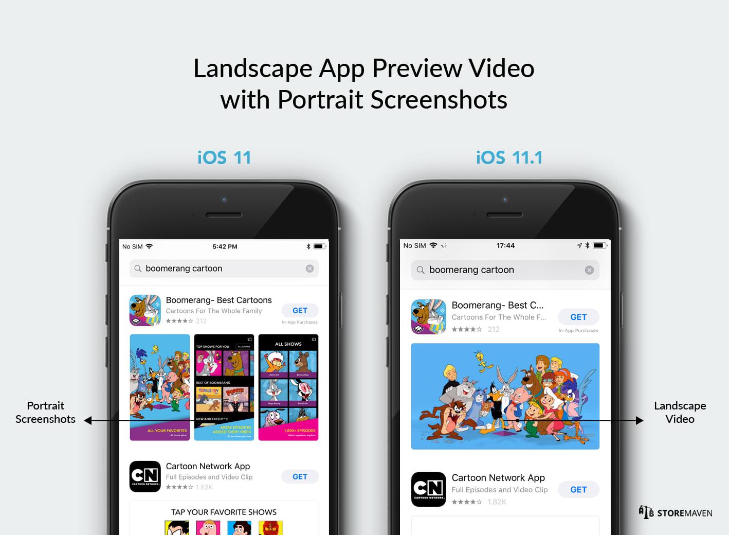 Landscape App Preview Video with Portrait Screenshots