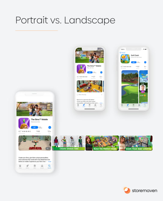 Portrait vs. Landscape Screenshots