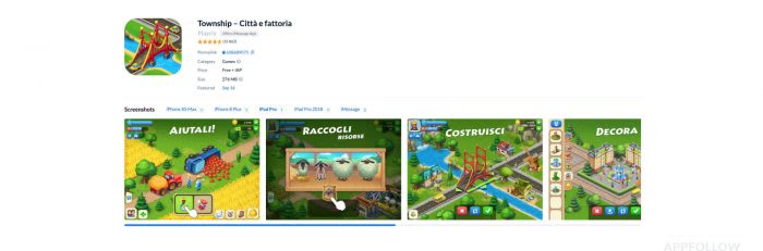 Township game by Playrix localized for the Italian market.