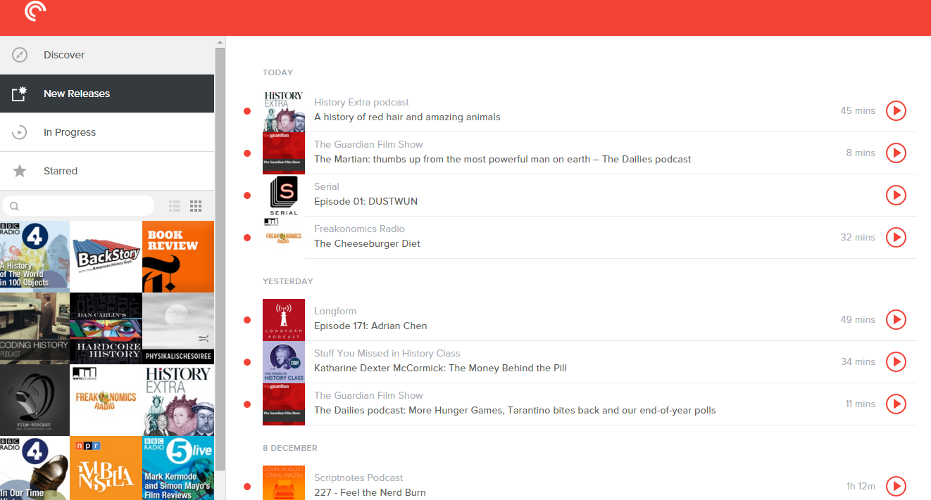 The web-version of Pocket Casts. It's not free, but it's great.