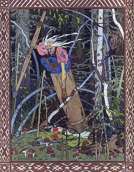 Baba_Yaga riding in her mortar - Ivan Bilibin