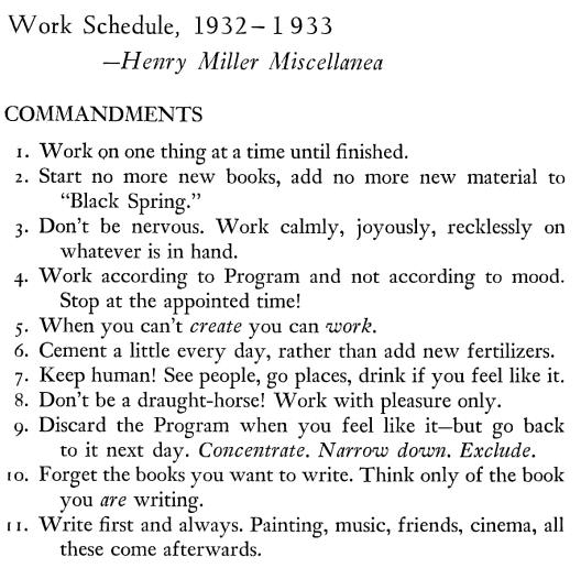 Henry Miller's 11 commandments