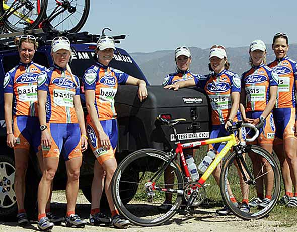 Ford Basis women's cycling team posing with StowAway Standard Hitch Mounted Cargo Box