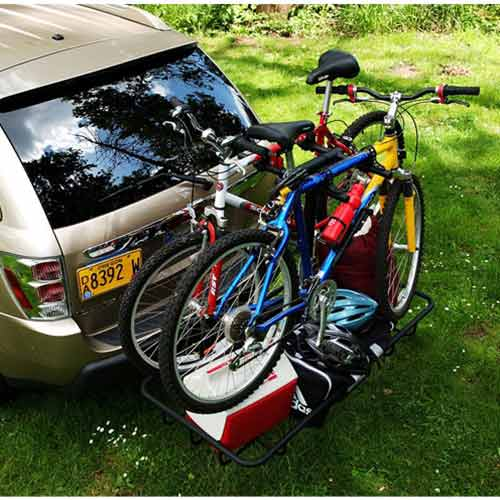 StowAway Cargo Rack with 4-bike carrier and bikes attached