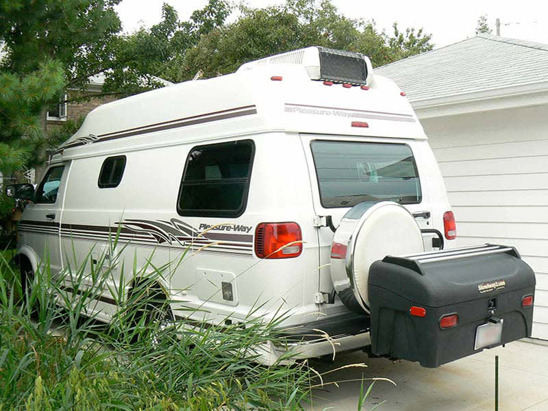 Pleasure-Way RV wth StowAway Standard Cargo Carrier