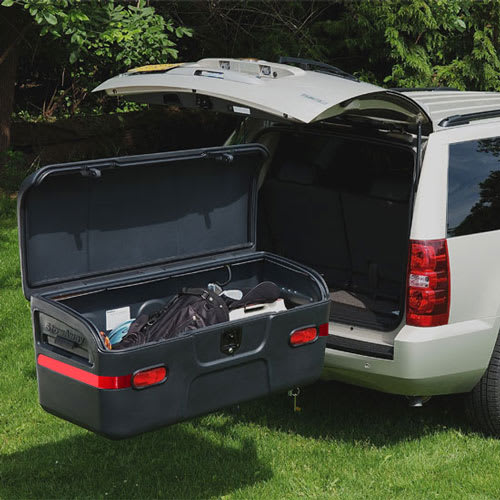 Open StowAway MAX Cargo Carrier with vehicle liftgate open