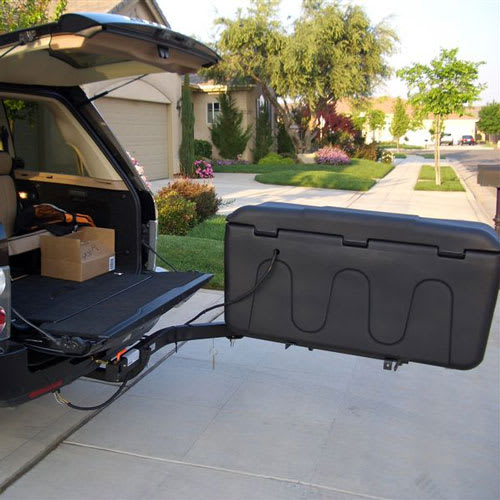 StowAway MAX Cargo Carrier on SwingAway Frame for full rear vehicle access