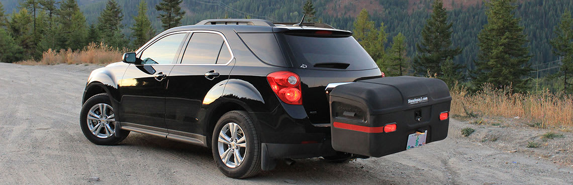 StowAway MAX Cargo Carrier mounted on black SUV